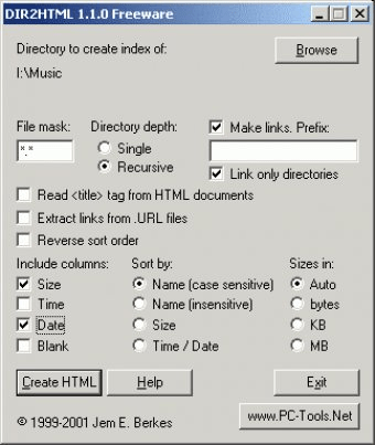 DIR2HTML - Software Informer  Create HTML indexes from directory