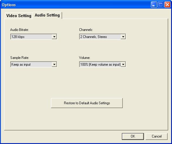 Audio Settings Options