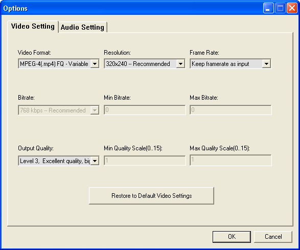 Video Settings Options