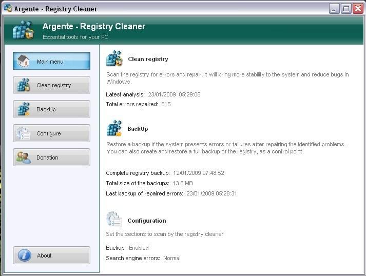 Full Argente - Registry Cleaner screenshot