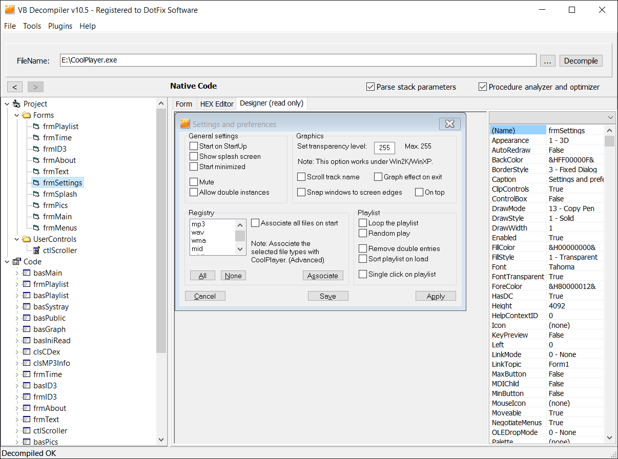 VB Decompiler VB6 GUI Designer.