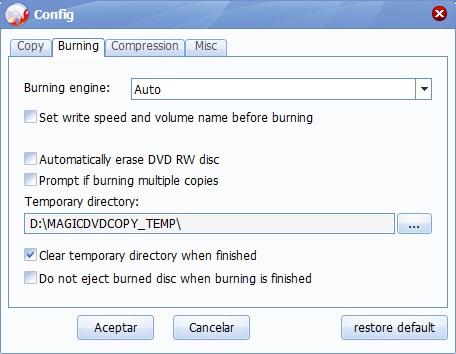 Burning Configuration