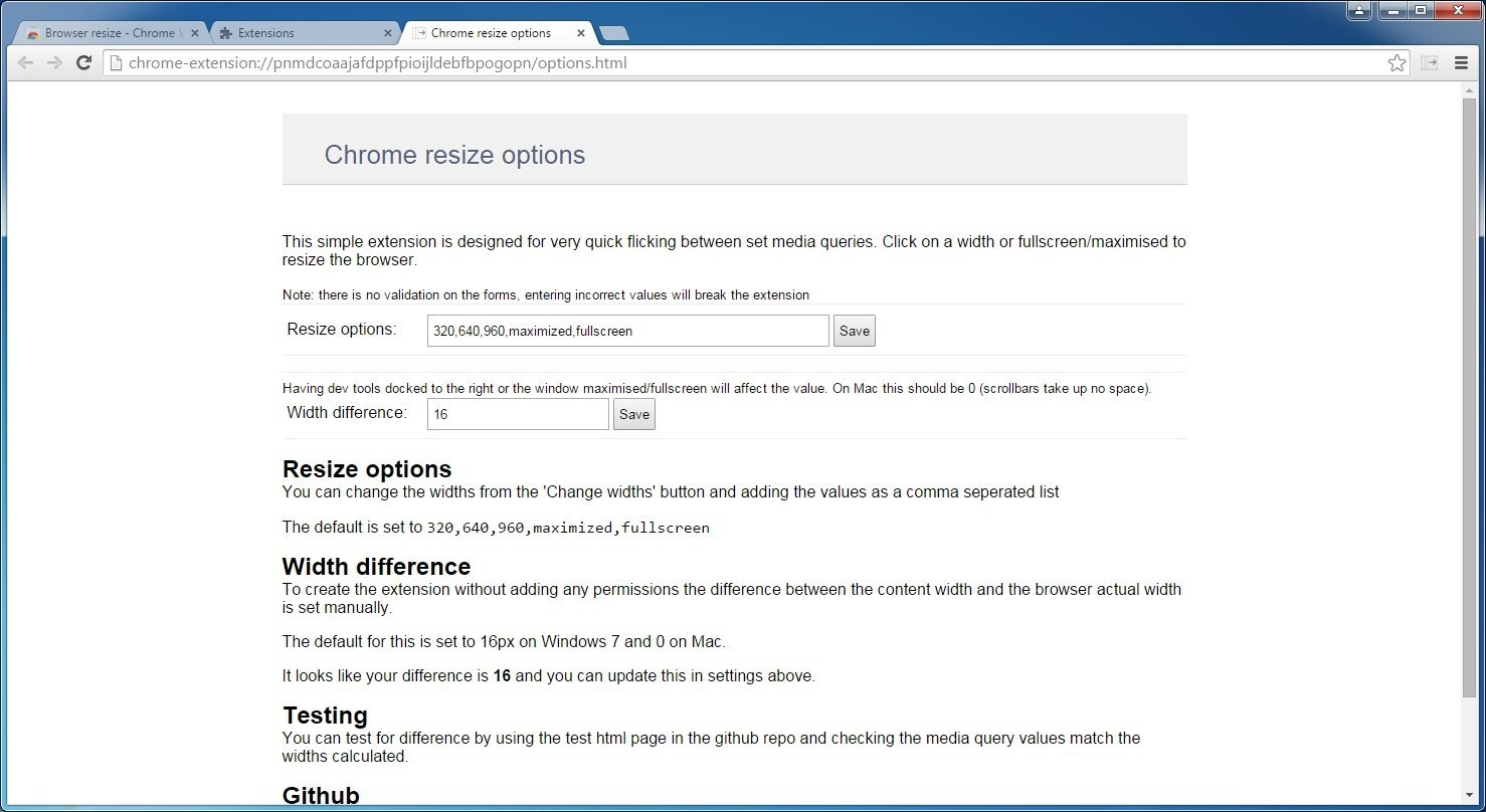 Browser Resize Download - It is an extension for Chrome