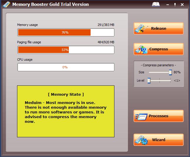 Intial Window displaying Memory status.
