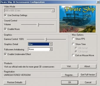 pirate ship 3d screensaver download comp exe