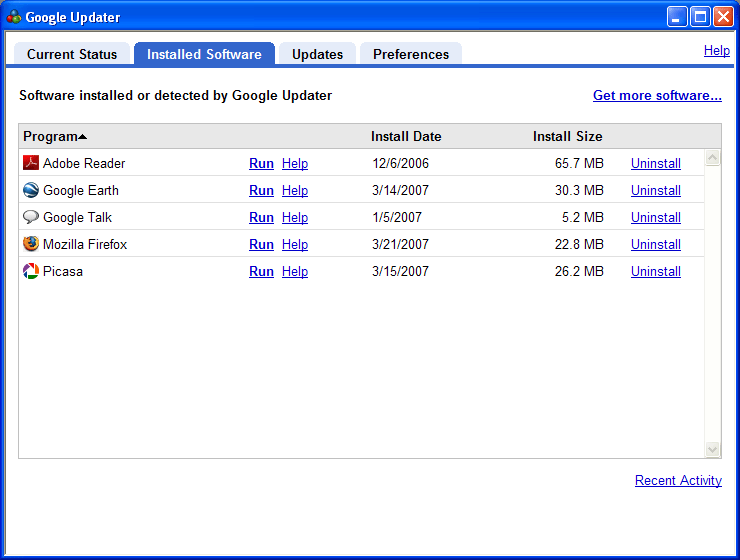 Installed software tab