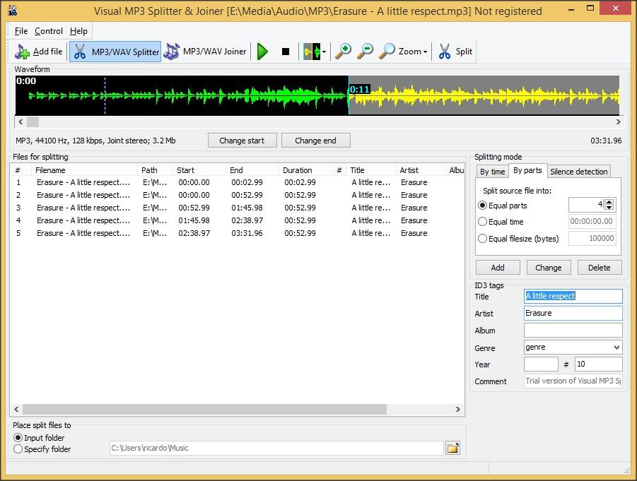 MP3/Wav Splitter Section