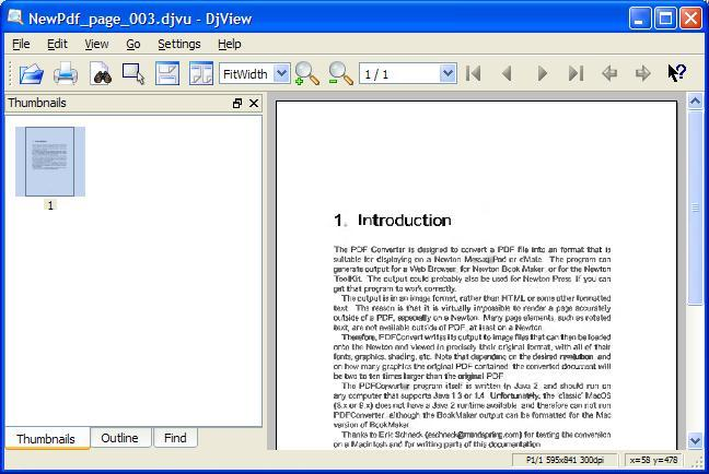 Showing a DjVu Document