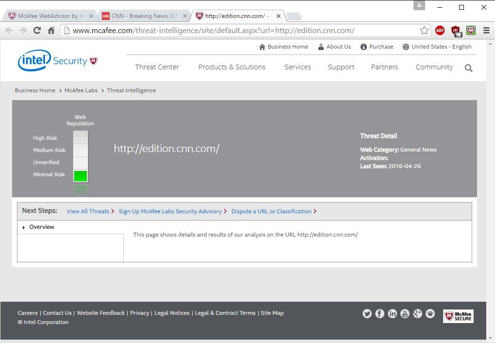 Checking Site Reputation