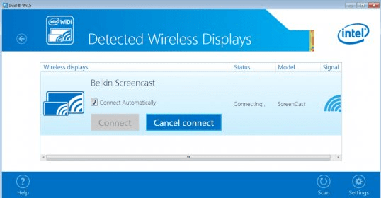 Error when trying to use intel widi (wireless display) with your.