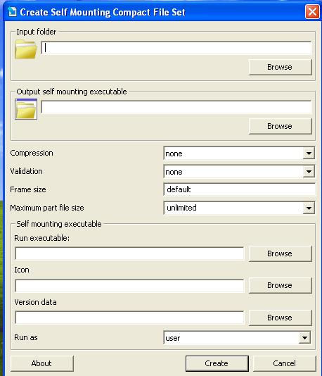 Create self mounting compact file set
