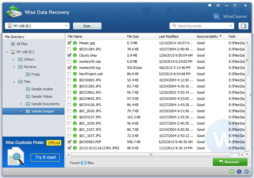Select Files To Recover