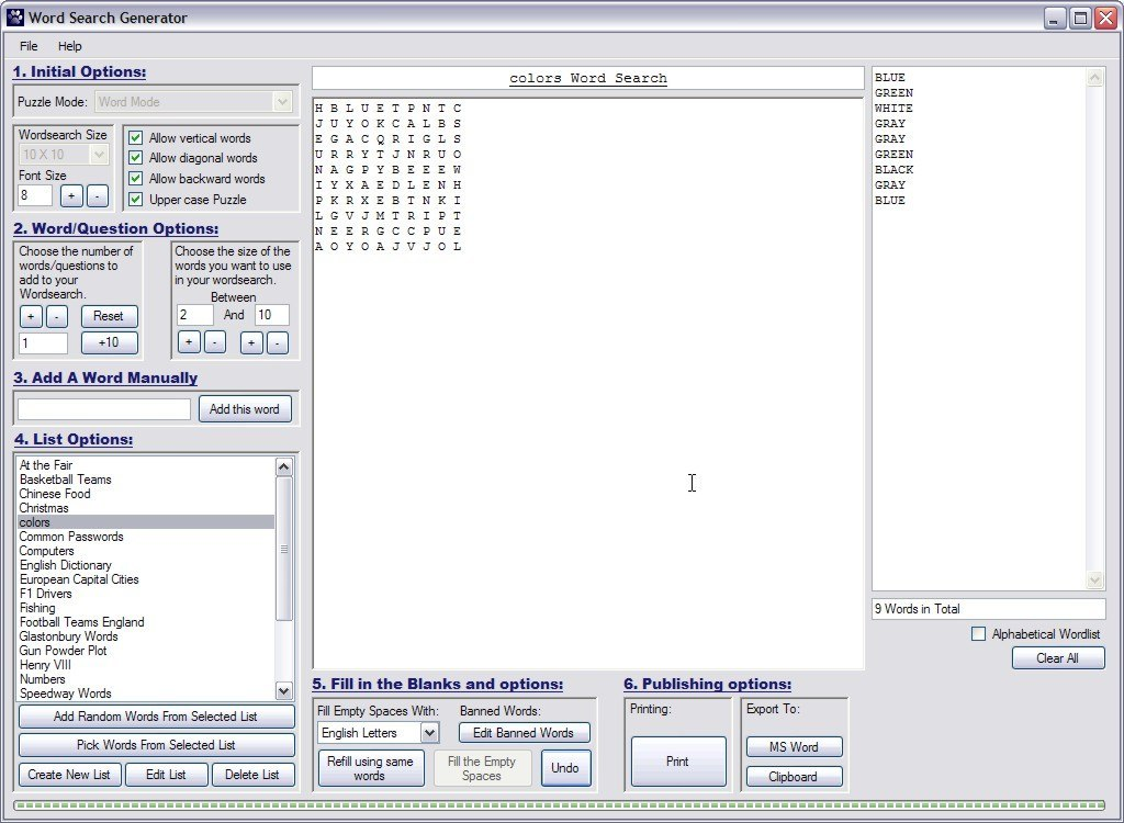 Wordsearch Generator Download - Create word puzzles