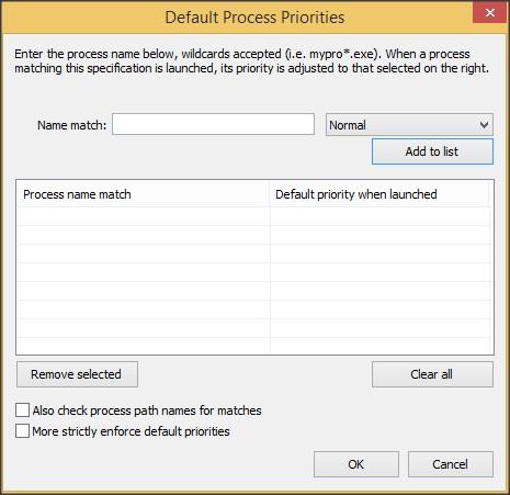 Default Process Priorities Configuration