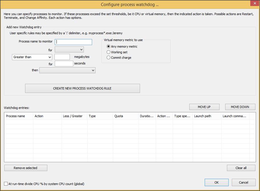 Process Watchdog Configuration