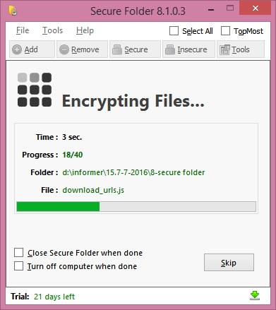Encrypting folder