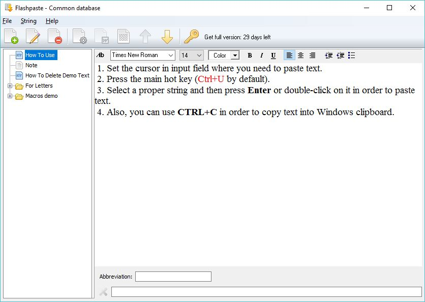 Database Window