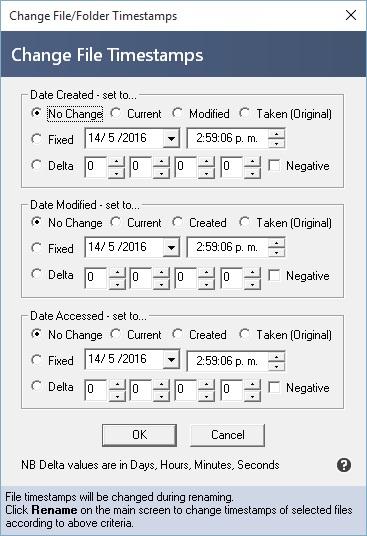 Change file folder timestamps
