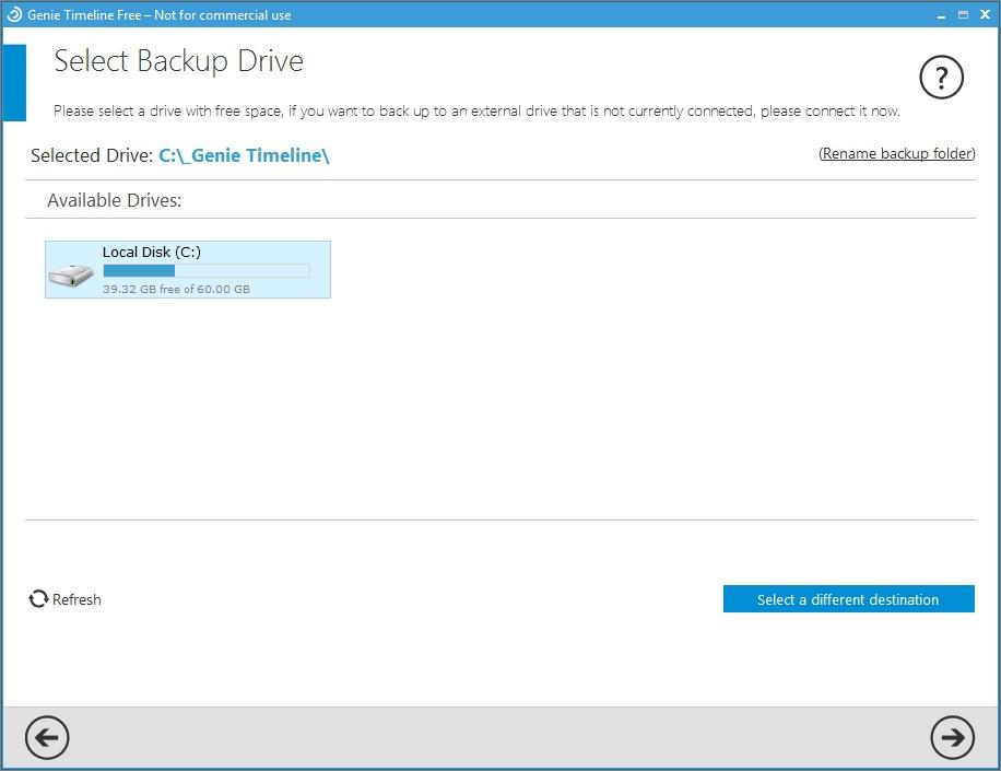 Selecting Backup Drive