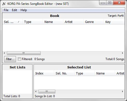 KORG Pa-Series SongBook Editor Download (SongBookEditor exe)