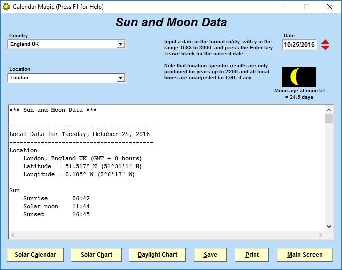 Sun and Moon Data