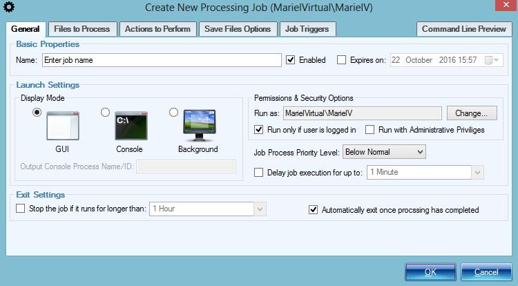 New Processing Job