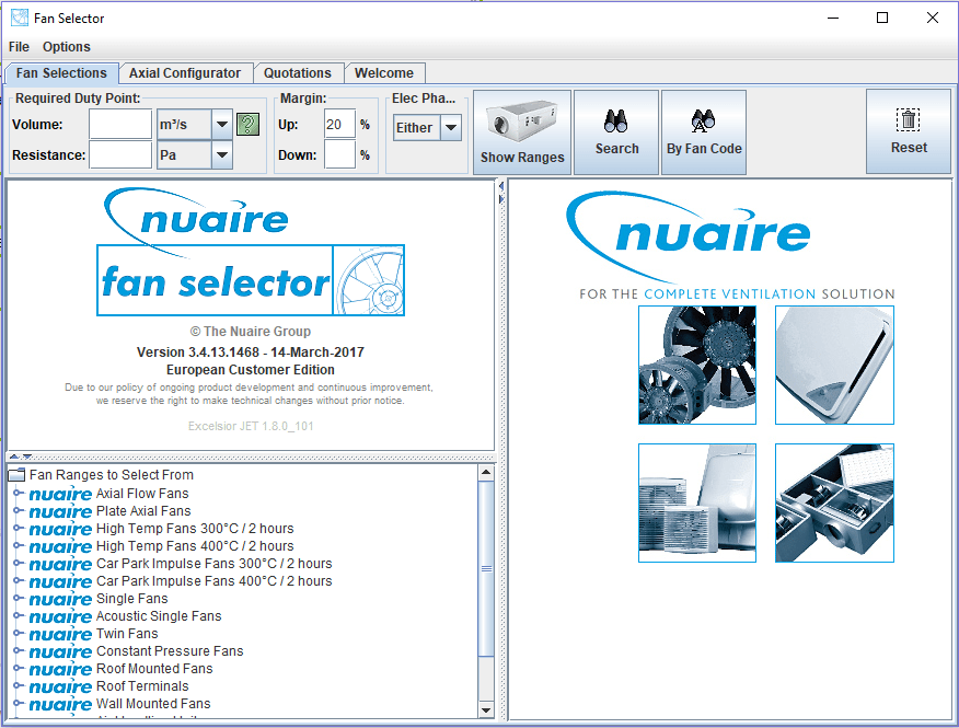 Nuaire Fan Selector 2 5 Download (Free) - FanSelector exe
