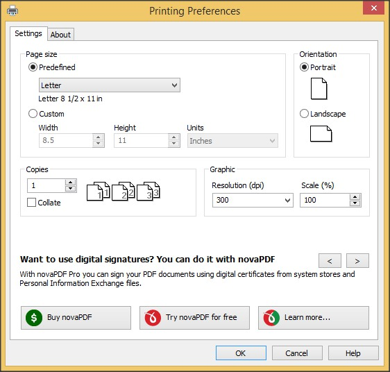 Printing Preferences Window