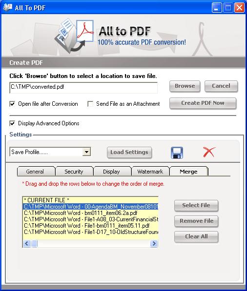 Merge PDF Functionality