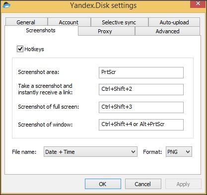 Settings Window - Screenshots Tab