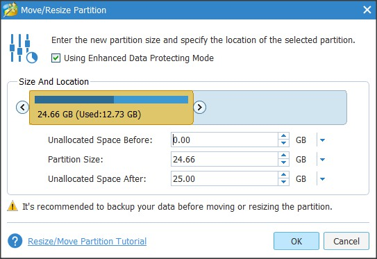 Move/Resize Partition Wizard