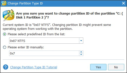 Change the Partition Type and ID Wizard