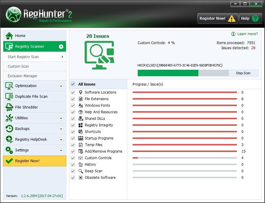 Registry Scanner Tab