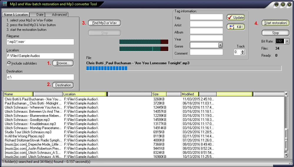 MP3 and WAV Restoration Tool