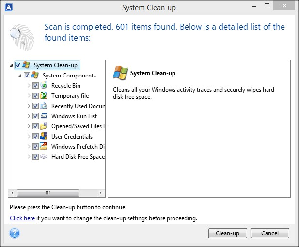 System Clean-up Tool