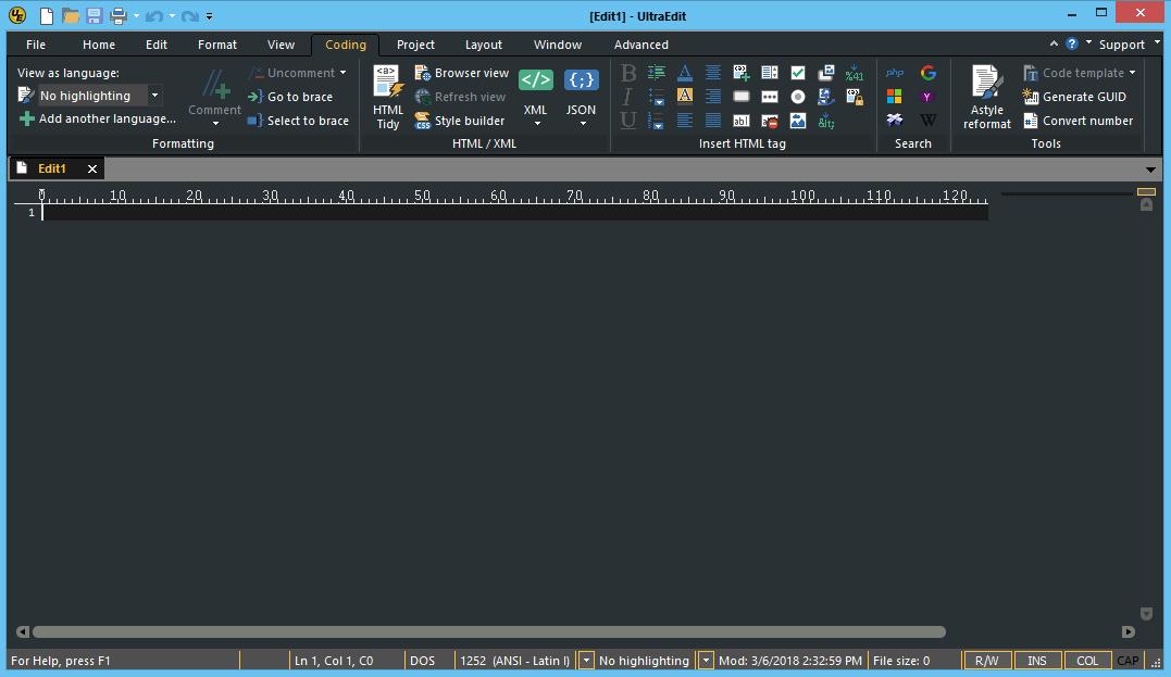 Coding tab