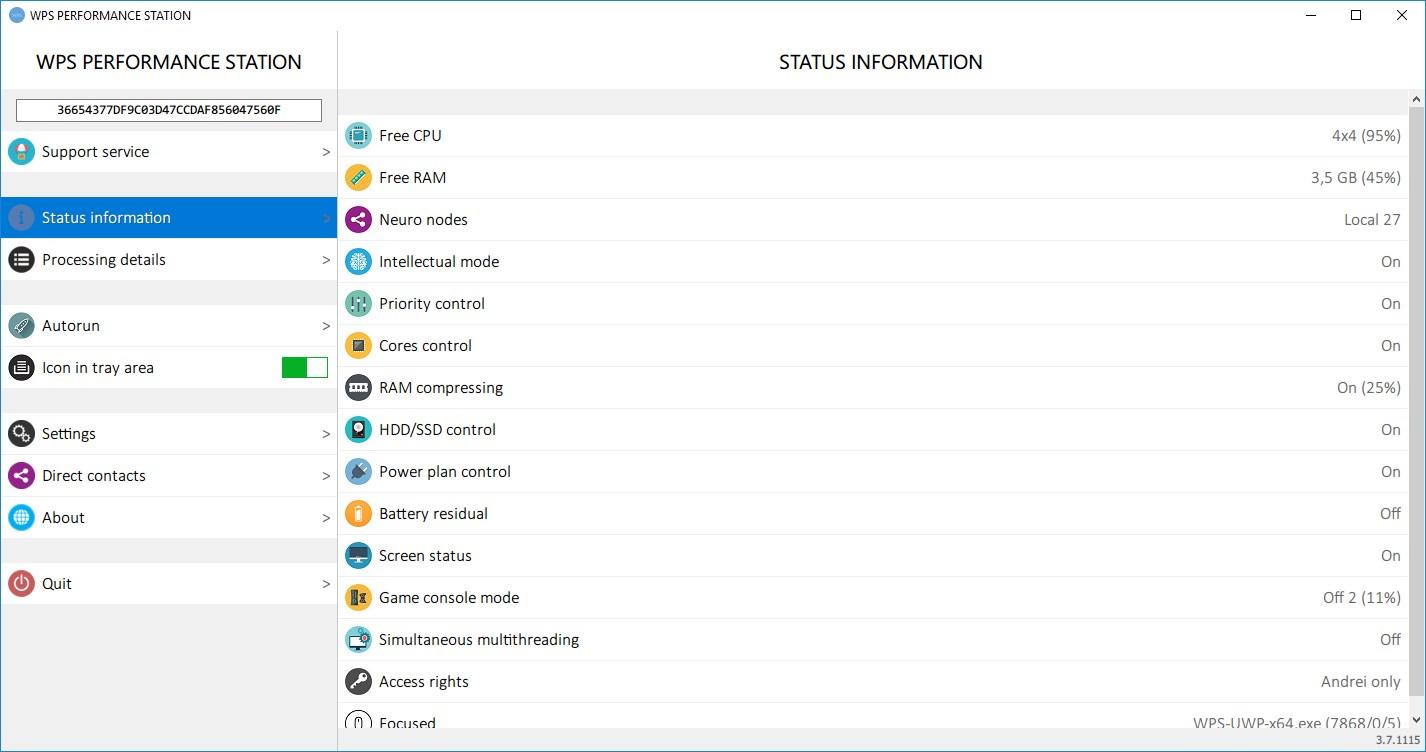 Status Information Window