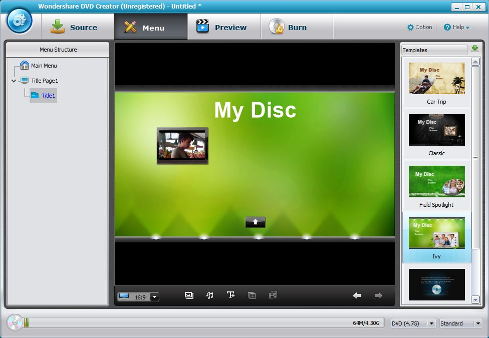 Selecting DVD Menu Template