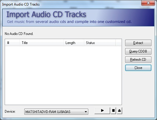 Import Audio CD Tracks