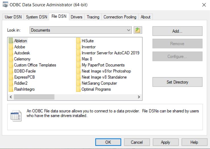 File DSN window