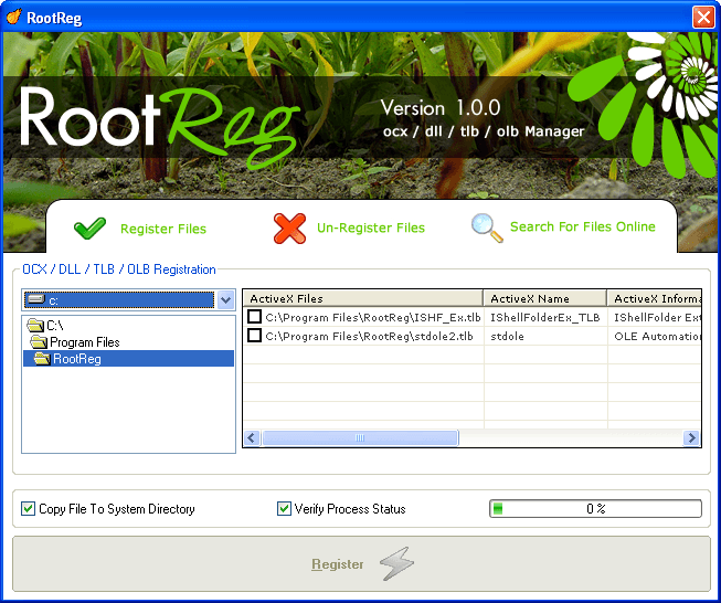 RootReg Download - It can register and un-register files in your system