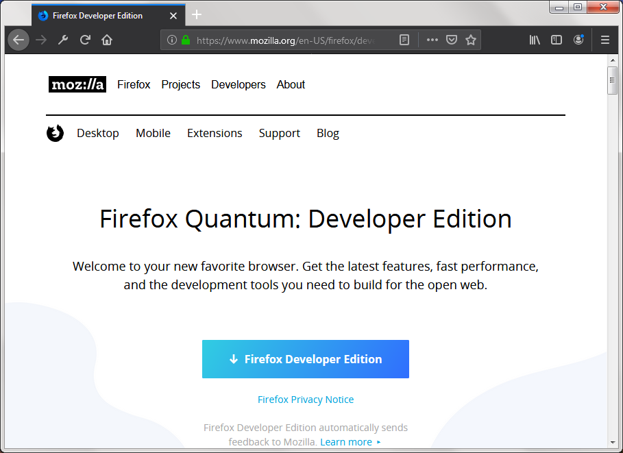 Firefox Developer Edition 45 0 Download (Free) - Aurora exe