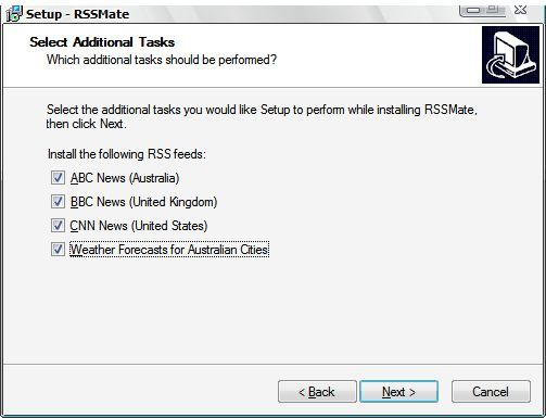 Choosing predefined RSS feeds during the installation process