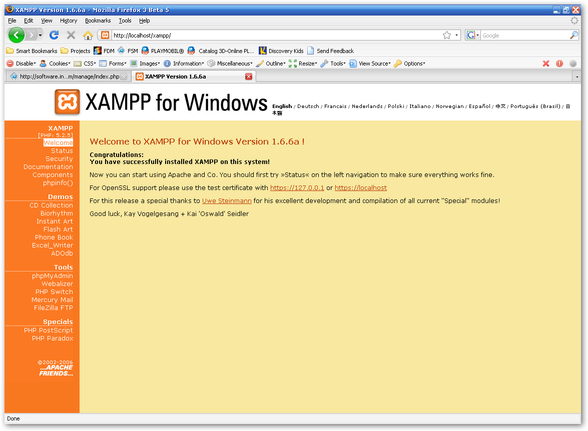 XAMPP installation welcome page