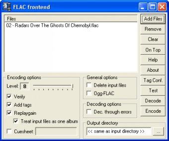 FLAC frontend Download - It lets you decode, test and re