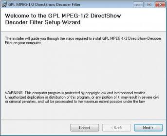 GPL MPEG 1 2 DirectShow Decoder Filter Download