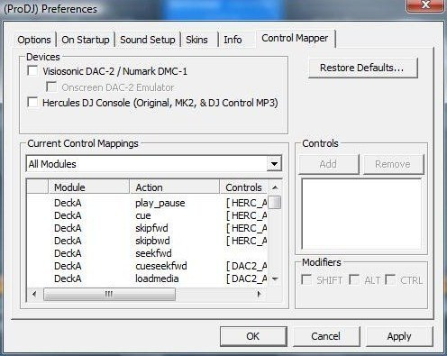 Control Mapper Preferences