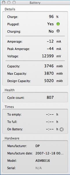 Battery details