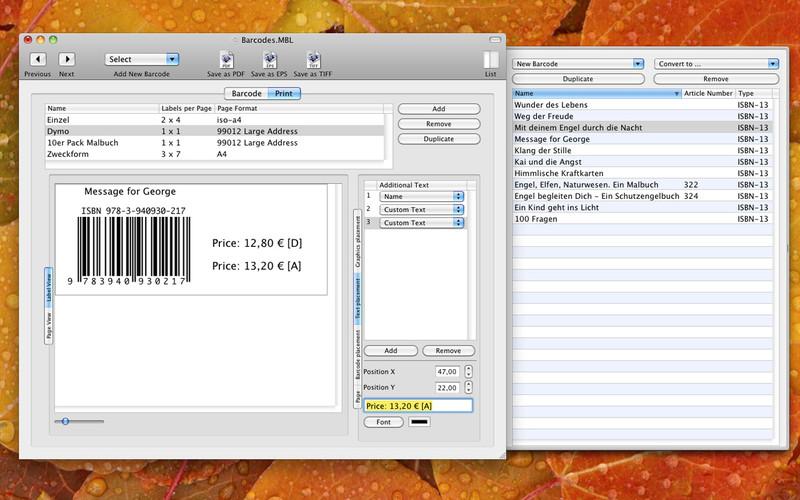 BarcodeLabel screenshot