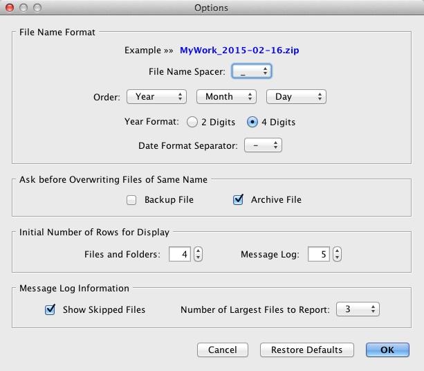 Configuring Backup Options